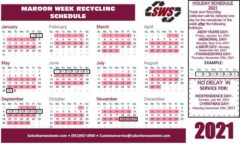 Maroon Week Recycling Pickup Calendar