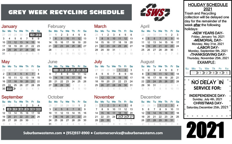 Gray Week Recycling Pick Up Calendar